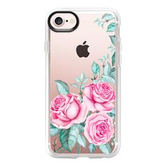 PINK FLORAL WATERCOLOR - iPhone 7 Case And Cover (165 RON) ❤ liked on Polyvore featuring accessories, tech accessories, iphone case, iphone cases, clear iphone case, pink iphone case, apple iphone case and iphone cover case