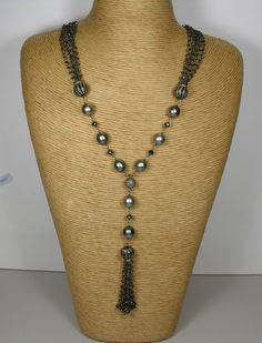 Tahitian Pearl and Black Diamond Tassel Necklace