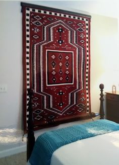 Navajo rug weaving hangs on the wall