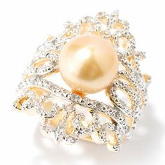 9-10mm Golden South Sea Cultured Pearl & White Topaz Scrollwork Ring