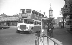 Eastbourne Corporation Bus at Eastbourne railway station Bus Coach, Buses, Transportation, Coaching, Street View, Train, 1960s, City, Image