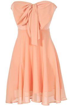 Oversized Bow Chiffon Dress in Peach / Apricot / Pink
