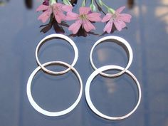 Not Plated and handmade - Sterling Silver Handcrafted Organic 2 circles Link