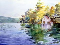 Watercolor landscape lake,,this is my painting! I need to be properly credited. Watercolor Water, Watercolor Landscape Paintings, Watercolor Artists, Watercolor Techniques, Watercolour Painting, Landscape Art, Painting & Drawing, Watercolors, House Painting