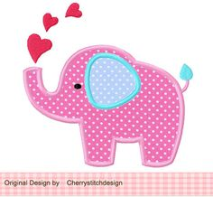 Heart Elephant  Applique 4x4 5x7 6x10Machine by CherryStitchDesign, $2.99