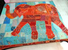 Elephant applique patchwork bedding indian embroidered bed cover blanket