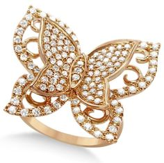 Butterfly Shaped Diamond Ring 14k Rose Gold (1.00ct)