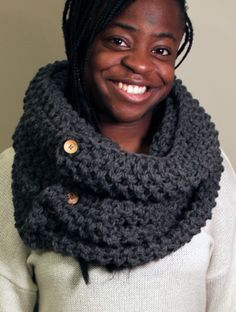 Oversize Infinity Knit Scarf with Buttons - Dark Heather Grey