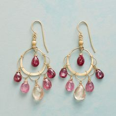 """FIFTH EYE EARRINGS--Thoi Vo's ruby represents the spirit of the all-seeing """"fifth eye,"""" illuminating pink tourmaline and Oregon sunstone below. Earrings with scalloped wire on brushed hoops handcrafted in USA of 14kt gold filled"""
