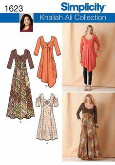 Simplicity Pattern 1623 Misses or Plus Khaliaah Ali Knit Dress Sizes 10 28 | eBay