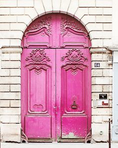 Paris Poster Print - 20x30, Pink Door, White, Large Wall Photo, Door, Old, France, French, Neon, Fluo - Big Paris Art, Huge, Romantic, Brick. $100.00, via Etsy.
