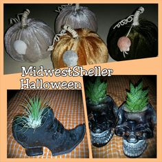 Halloween skull plant holder by MidwestSheller on Etsy, $10.00 use coupon code fall4fun to save $4!