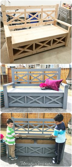 This diy outdoor storage bench started from an Ana White building plan. With a few tweaks a bench was turned into a DIY outdoor storage bench, check it out!
