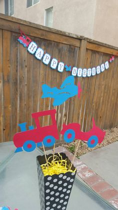 Hey, I found this really awesome Etsy listing at https://www.etsy.com/listing/269930043/planes-trains-and-automobiles Planes Trains and automobiles centerpiece banner cake topper Transportation Themed transportation decorations automobile decorations