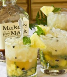 Ginger-Mint Juleps with Fresh Pineapple