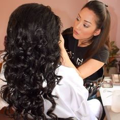 #BehindTheScenes with senior #makeupartist Kay and her beautiful #bridetobe in mid #makeover  Super lusciously curly #downdo done by our senior #hairartist Donna. #bridalbeauty #makeupandhair by #kayanabeauty #kayanabeautytrends
