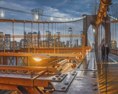 Realist oil NYC paintings and artist's new series with nature and botanicals New Series, Brooklyn Bridge, Golden Gate Bridge, Dusk, New York City, Nyc, Studio, Nature, Painting