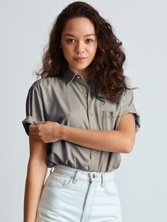 Unisex Denim Short Sleeve Button-Up   Short Sleeves   Women's Collared Shirts   American Apparel