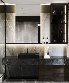 """Perla Interiors on Instagram: """"L U M I N A T E • The glowing light balances the dark wood and black marble beautifully. Light choices and placement are so important when…"""" Washroom Design, Toilet Design, Bathroom Design Luxury, Home Interior Design, Masculine Bathroom, Dark Living Rooms, Apartment Projects, Home Decor Kitchen, Bathroom Inspiration"""