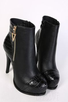 Black Patchwork Zipper Ankle Boots