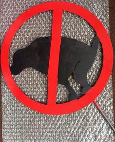 No pooping dog stake by MetalArtDesignz on Etsy