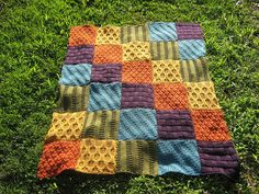 Multi-colored block blanket - knit