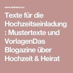 Texte für die Hochzeitseinladung: Mustertexte und VorlagenDas Blogazine über Hochzeit & Heirat