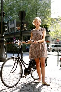 beautiful bike (summer dress, bike, ballet flats)