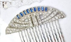 Art Deco Sapphire Blue Rhinestone Bridal Hair Comb, Antique Navy Downton Abbey Dress Clip to One-of-a-Kind Wedding Hair Piece Something Blue / Something Old - For the bride something blue (*Amazon Partner-Link)