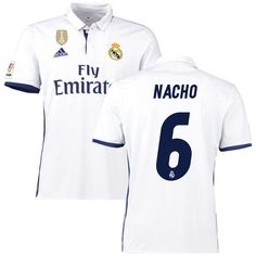 Nacho Real Madrid adidas 2016/17 Home Club World Cup Champions Patch Replica Jersey - White - $68.99