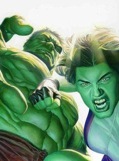 Original Comic Art titled Alex Ross-Hul-She-Hulk, located in Sal's AlEX Comic Art Gallery Comic Book Artists, Comic Book Characters, Comic Artist, Marvel Characters, Comic Character, Comic Books Art, Ms Marvel, Hulk Marvel, Marvel Heroes