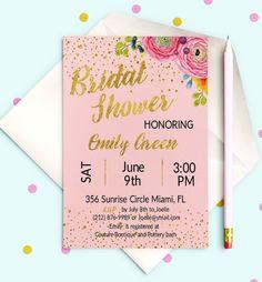 Bridal Shower Invitation Pink and Gold Printable by AlniPrints  #Bachelorette #Bridal #Shower #Invitation #brunch #idea #invite #Lingerie #party #dinner
