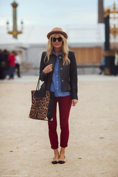 Mie in a basic and winter colors: jean shirt, leather jacket, burgundy pants, Alexander Wang printed bag and Chanel flats.