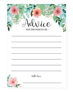 Printable Advice Cards for the mom-to-be by LittleSizzle