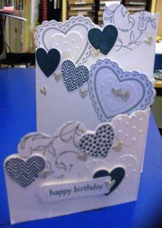TriFoldHeartsFlutter Tri Fold Cards, Fancy Fold Cards, Folded Cards, Z Cards, Pop Up Cards, Kids Cards, Handmade Birthday Cards, Happy Birthday Cards, Handmade Cards