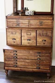 Want! I have never seen a cabinet like this. She says it's an 'antique surveyors cabinet'. Gotta get me one of these!