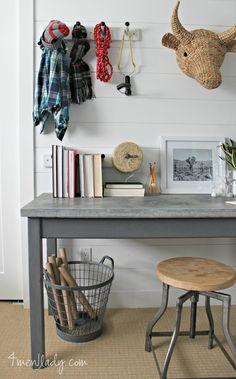 How to make galvanized steel look like zinc. Boys Room Design, Boys Room Decor, Kids Room, Furniture Projects, Diy Furniture, Furniture Refinishing, Science Table, Boy Room Paint, Copper Backsplash