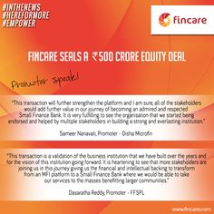 Fincare seals a ₹500 crore equity deal #InTheNews #HereForMore #Empower