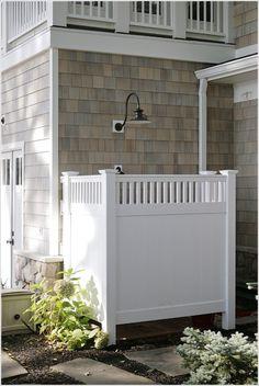 ... siding exterior shower outdoor lighting outdoor shower privacy screen shingle siding shower stepping stones western red cedar siding white trim id-1719