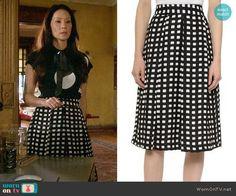 Joan's checked skirt on Elementary.  Outfit Details: http://wornontv.net/54953/ #Elementary