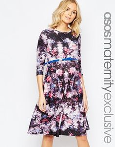 ASOS Maternity Floral Skater Dress With 3/4 Sleeve And Belt