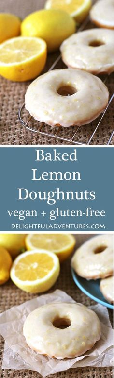 Family and friends will be asking for more when you make them these sweet, tangy, vegan baked lemon doughnuts with lemon glaze! Recipe contains a gluten free option! via @delighfuladv (Gluten Free Recipes For Dessert)