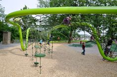 Schulberg: Wiesbaden, Germany To create an undulating climbing space that meanders through the trees, designers erected two green steel pipes with a net strung between. In some sections, traversing the structure can involve swinging from ropes with rotating plates.