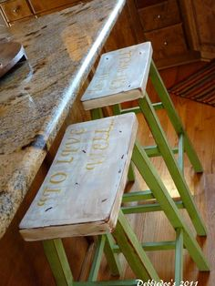 Counter stools { Painted & stenciled} – Debbiedoo's – Furniture Makeover Diy Bar Stools, Counter Stools, Diy Stool, Paint Furniture, Furniture Makeover, Plywood Furniture, Furniture Ideas, Modern Furniture, Furniture Design