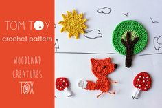 "Crochet PATTERN Woodland Creatures applique - FOX set ~ fox approx. 3.2"" (8 cm) tall ~ PURCHASED pattern - CROCHET"