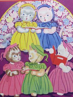 Vintage Ruth Newton Childrens Nursery Rhyme Book Print-Church Kittens-Book Plate