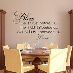 Kitchen Prayer Wall Decal Bless The Food Before Us by PonyDecal