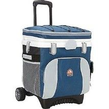 Cooler on wheels w handle pull rolling 36 can insulated ice chest BBQ party NEW