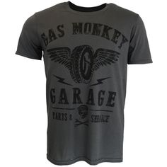 Gas Monkey Garage Tyres Parts Service T-shirt Grey Official Licensed TV
