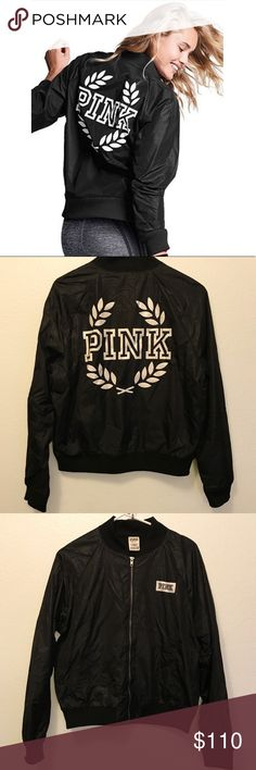"""NWOT Limited Edition VS PINK Black Bomber Jacket Limited edition full zip up bomber jacket. Has 2 Side pockets w/ large printed graphic of """"PINK"""" letters in back. Has a mini white & black chest logo stitched on.   Size: SMALL - 100% Polyamide (same as VS Anoraks) - Lining: 60% Cotton / 40% Polyester - Pit to Pit is 22""""  NWOT. BRAND NEW! NEVER BEEN USED. Bought it as a gift for my sister but she never wore it.  No longer available! SOLD OUT! quickly!  Questions? Please feel free to ask :)…"""